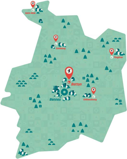Localisation des 9 établissements Ar Roc'h en Bretagne, Ill et Vilaine